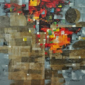 Code: 18959 Title: Urbanization Series Size: 48 inches x 48 inches Medium: Mixed Media