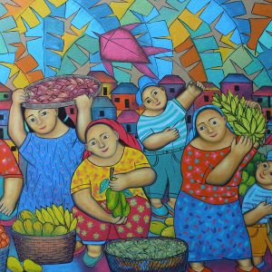 Code: 19047 Title: Vendors Size: 33x58.5in Medium: Oil on Canvas