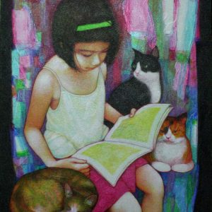 Code: 19057 Title: Reading Stories with Cats Dimension: 20x16in Medium: Acrylic on Canvas