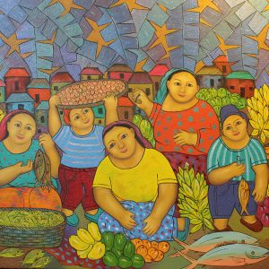 Code: 19080 Title: Vendors Size: 32x36in Medium: Oil on Canvas