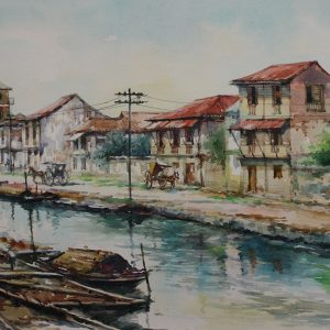 Code: 19091 Title: Binondo Canal Medium: Watercolor on paper Dimension: 11in x 17in