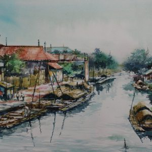 Code: 19092 Title: Tondo Canal Manila Medium: Watercolor on paper Dimension: 11in x 17in