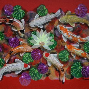 Code: 19158 Title: 9 Lucky Koi Size: 36 x 48 inches Medium: Mixed Media