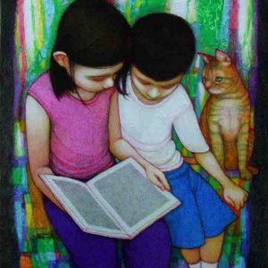 Code: 19213 Title: Reading Time Medium: Acrylic on canvas Dimension: 20in x 16in