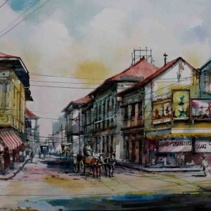 Code: 19219 Title: Escolta St. Medium: Watercolor on paper Dimension: 11in x 17in