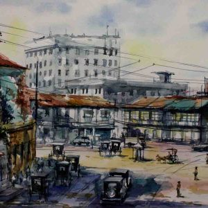 Code: 19220 Title: Plaza Moraga Medium: Watercolor on paper Dimension: 11in x 17in