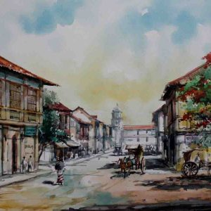 Code: 19221 Title: Plaza Moraga Scene Medium: Watercolor on paper Dimension: 11in x 17in