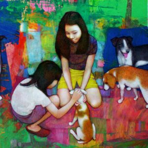 Code: 19230 Title: Playing with Dogs Dimension: 24x48in Medium: Acrylic on Canvas