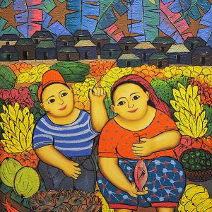 Code: 19243 Title: Vendors (Mother and Child) Size: 24x18in Medium: Oil on Canvas