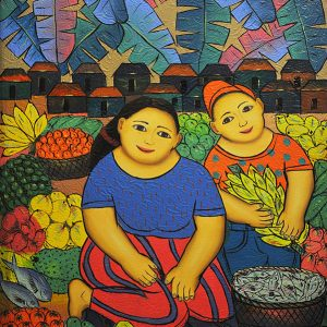 Code: 19244 Title: Vendors (Mother and Child) Size: 24x18in Medium: Oil on Canvas
