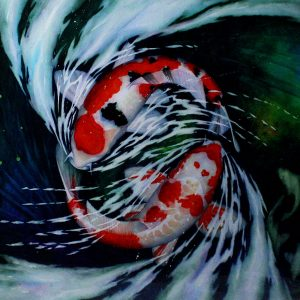 Code: 19255 Title: Koi Fish Size: 30x40in Medium: Watercolor on Paper