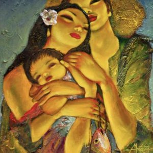 Code: 19290 Title: Family Medium: Oil on Canvas Dimension: 30in x 24in