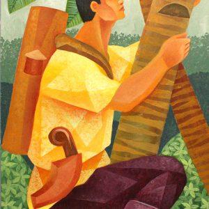 Code: 19385 Title: Cocunut Farmer Medium: Acrylic on Paper Dimension: