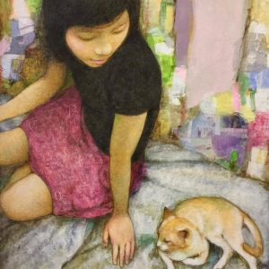Code: 9189 Title: Feline Friend II  Medium: Acrylic on Canvas  Size: 24x18 inches