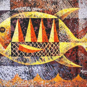 Code: 19437 Title: Fish Medium: Acrylic on Paper Dimension: 17.5x23.5in