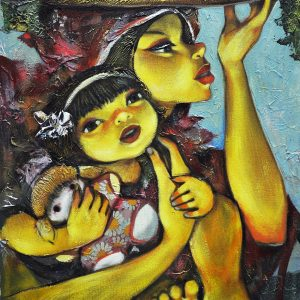 Code: 19520 Title: Mother and Child Size: 19x25 Medium: Acrylic on Canvas Year: 2017