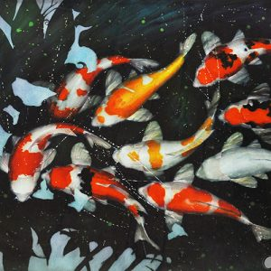 Code: 19529 Title: Koi Fish Size: 30x40in Medium: Watercolor on Paper