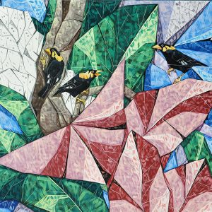 Code: 19537 Title: Myna Birds Size: 48x96 Medium: