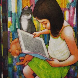 Code: 19611 Title: Girl Reading Book Dimension: 20x16in Medium: Acrylic on Canvas