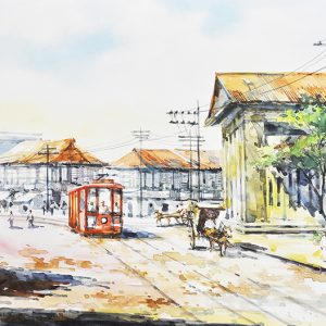 Code: 19707 Title: Monte de Piedad Plaza Goiti Manila Size: 12x18in Medium: Water Color on Paper