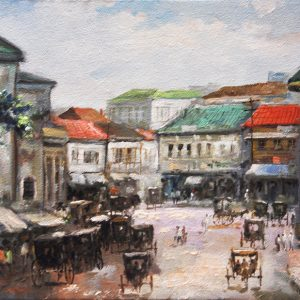 Code: 19741 Title: Plaza Goiti Sta. Cruz Size: 12x16in Medium: Oil on Canvas