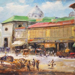 Code: 19746 Title: Avenida Plaza Sta. Cruz Size: 12x16in Medium: Oil on Canvas
