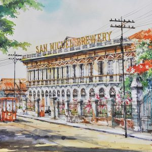 Code: 19796 Title: San Miguel Brewery Bldg. Size: 12x18in Medium: Watercolor on Paper