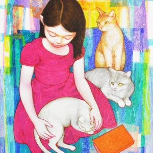 Code: 19797 Title: Cuddling with Cats Size: 20x16in Medium: Acrylic on Canvas