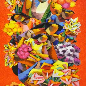 Code: 19999 Title: Flower Vendor Size: 60x36 in Medium: Acrylic on Canvas