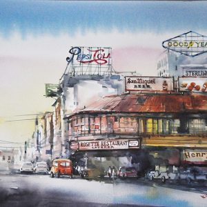 Code: 20071 Title: Plaza Moraga 1920 Size: 11x17in Medium: Watercolor on Paper