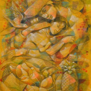 Father and Daughter 28 inches x 22 inches Pastel on paper