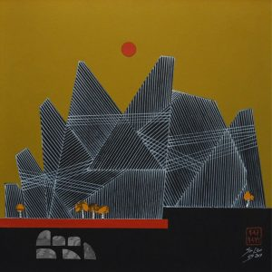 Title: Mountain Series Size: 24inches x 24 inches  Medium: Mixed Media on Canvas
