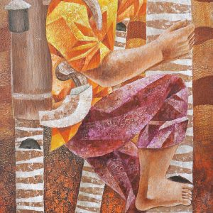Code: 8212 Title: Coconut Farmer Medium: Acrylic on Canvas Dimension: 28 x15.5 in