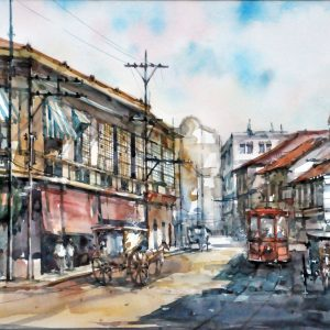 Code: 23117 Title: Escolta Street, Manila Size: 11 x 17  in Medium: Watercolor on Paper Year: 2019