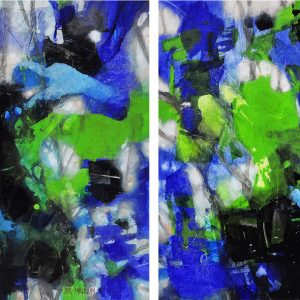Foliage : Geminae Series Diptych 30x30in Acrylic and Oil on Canvas