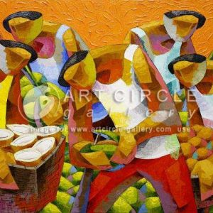 Code: 9292 Title: Coconut Harvest Size: 36 x 60 inches Medium: Acrylic on Canvas