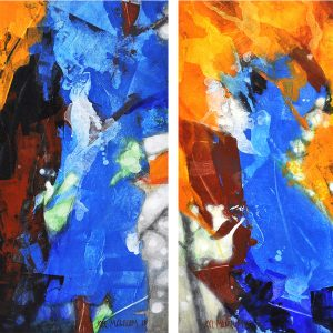 """Foliage : Geminae Series """"Breathe"""" Diptych 30x30in Acrylic and Oil on Canvas"""
