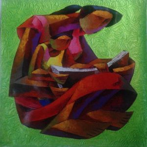 Code: 16916 Title: Mother and Child Size: 30 inches x 30 inches Medium: Acrylic on Canvas