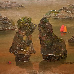 The Red Sailboats at Halong Bay |  18 in x 24 in |  Acrylic on Canvas |  2017