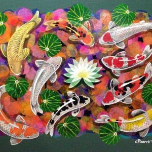 Code: 17658 Title: 9 Lucky Koi Size: 36 inches x 48 inches Medium: