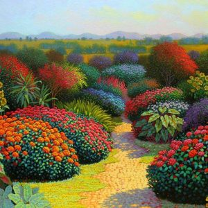 Code: 18732    Title: Floral Path Size: 24in x 48in  Medium: Oil on canvas
