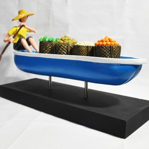Code: 21243 Title: River Vendor Size: L= 21 W=8 H=13 Medium: Epoxy and Metal on Wood Base