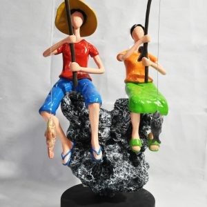 Code: 21244 Title: Fishing Date Size: L= 10 W=10 H=19 Medium: Epoxy and Metal on Wood Base