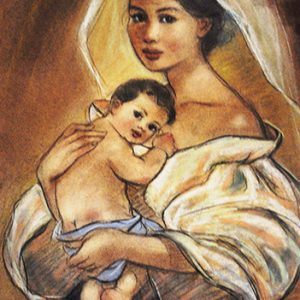 Code:18161 Title:Mother and Child Size:14.5x11 Medium:PP