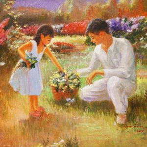 Code: 19764 Title: Father and Daughter Size: 18x24in Medium: Oil on Canvas