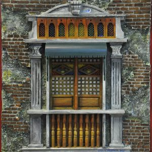 Code: 19967 Title: Old Window with Canopy Size: 22x18 in Medium: Mixed Media
