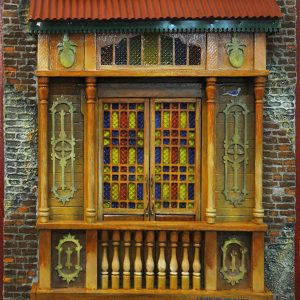 Code: 19968 Title: Old Window with Canopy Size: 22x18 in Medium: Mixed Media