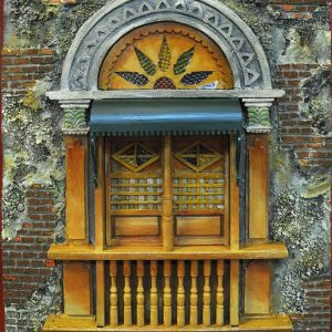 Code: 19969 Title: Old Window with Canopy Size: 22x18 in Medium: Mixed Media