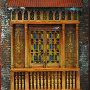 Code: 19970 Title: Old Window with Canopy Size: 22x18 in Medium: Mixed Media