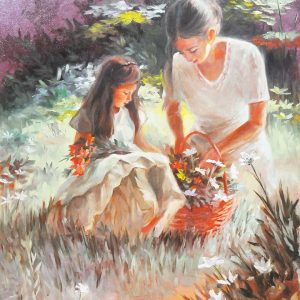 Code: 20058 Title: Picking Flowers Size: 18x24in Medium: Oil on Canvas